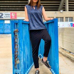 גופיה טיפה דמוי עור כחול ג'ינס