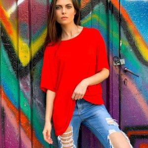 חולצה אוברסייז כותנה אדומה