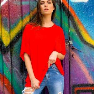 قميص قطني أحمر كبير الحجم