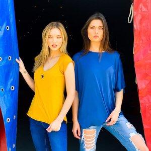 חולצה אוברסייז כותנה כחולה