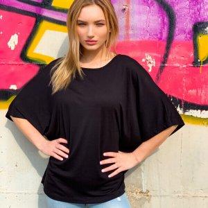 חולצה אוברסייז כותנה שחורה