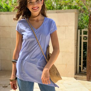 חולצה אסימטרית כותנה פסי סיכה כחולים