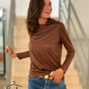 قميص من الجلد الصناعي يقطع اللون البني