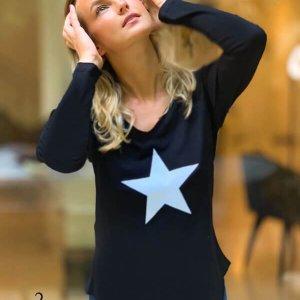 חולצה וי שחורה כותנה כוכב