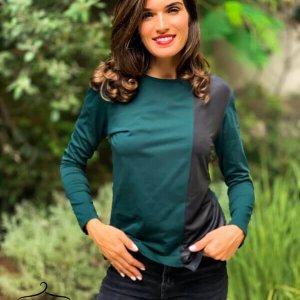 חולצה ירוקה כותנה שילוב דמוי עור