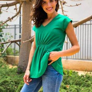 חולצה כיווץ ירוקה כותנה