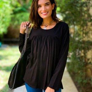 חולצה שחורה כותנה כיווצים
