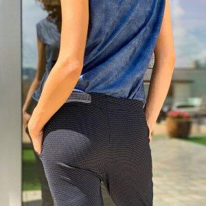 מכנס ג'רסי אפור גומי וכיסים