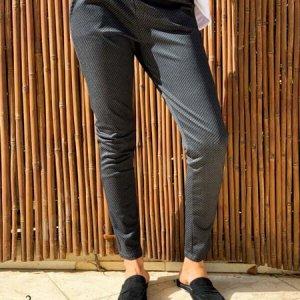 מכנס ג'רסי אפור מודפס גומי וכיסים