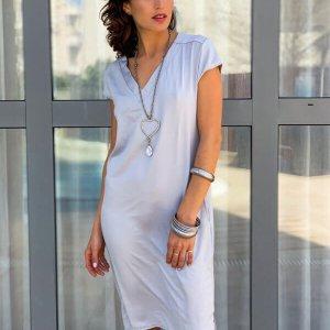 שמלה וי אפורה סאטן