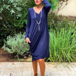 فستان منسوج أزرق من الموهير