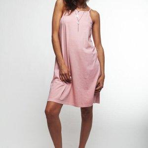 فستان بياقة من القطن الوردي بطبعة نجمة