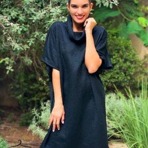 فستان أسود منقوش متماسك