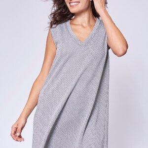 שמלת גופיה הדפס שחור לבן בגזרת a