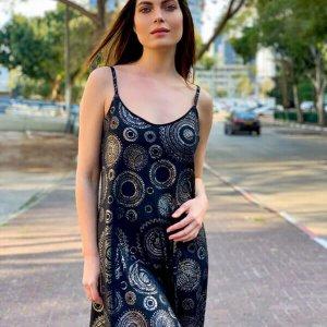 فستان الحمالات السوداء الدوائر