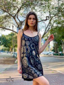 שמלת כתפיות שחורה עיגולים