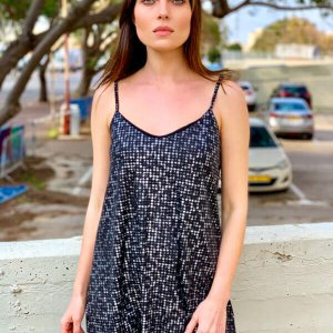 الحمالات فستان باللونين الأسود والفضي
