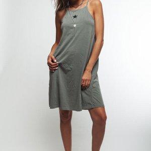 שמלת קולר כותנה ירוק זית