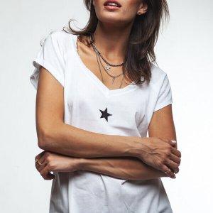 חולצת וי לבנה כותנה הדפס כוכב שחור