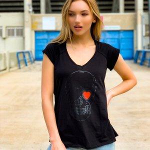 חולצת כותנה שחורה הדפס גולגולת