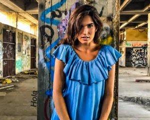 שמלה וולן ג'ינס בהיר כותנה אריג
