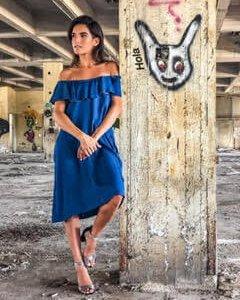 שמלה וולן גינס כותנה אריג