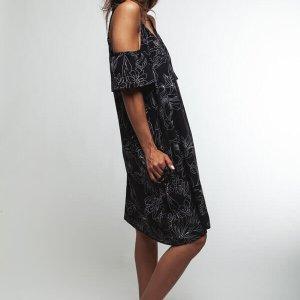 שמלה כתפיות קשירה שחור לבן