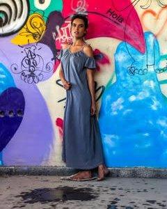 שמלה מקסי אפורה ווש כותנה