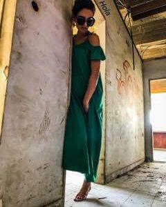 שמלה מקסי ירוקה ווש כותנה