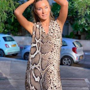 שמלה a שילוב מנוחש חום