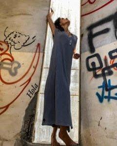 שמלת גלביה ווש אפור מקסי כותנה