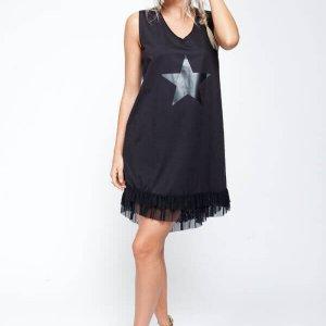 שמלת כותנה מלמלה הדפס כוכב