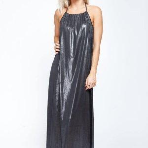 שמלת מקסי שחורה קולר קשירה