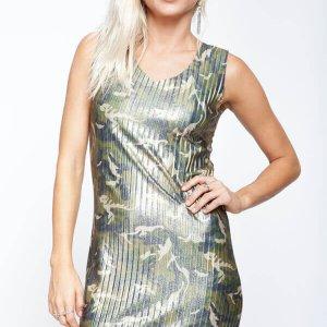 שמלת פליסה הסוואה זית