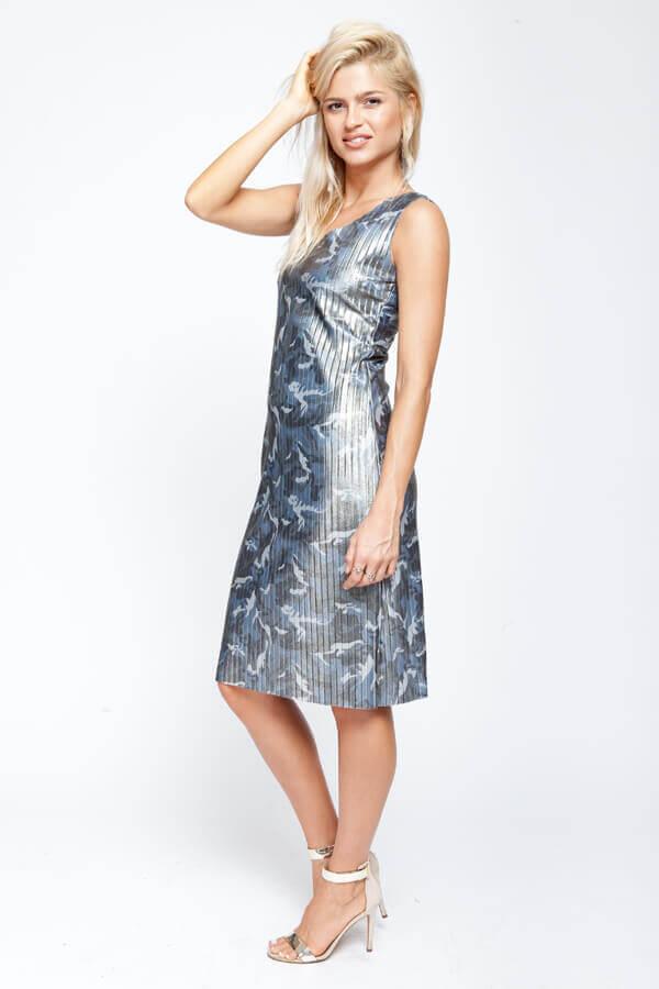 שמלת פליסה צבעי הסוואה אפור