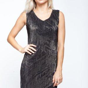 فستان صوف من الذهب الأسود