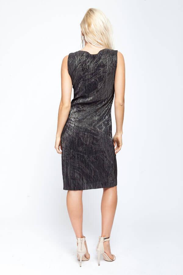 שמלת פליסה שחור זהב