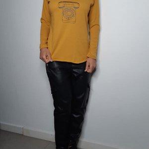 V-shirt Cotton Mustard Phone. رقم الهاتف