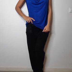 חולצה כחולה רבידה פס כסף