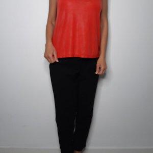 חולצה פליסה בכתף דמוי עור אדום