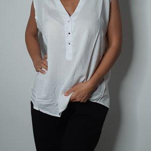 חולצה שינה לבנה כפתורים כותנה
