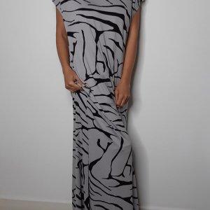 שמלה מקסי שסה אפורה