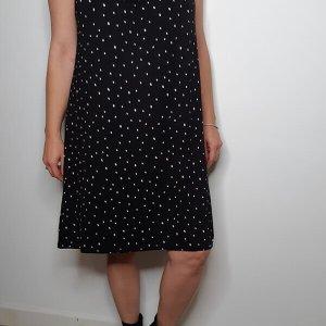 שמלת קולר קשירה כותנה שחור נקודות