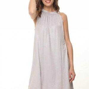 שמלת קולר קשירה פוייל פייטים אפור
