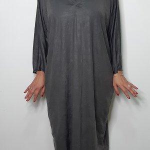 שמלת שינה אפור פלדה מדמוי עור מקומט