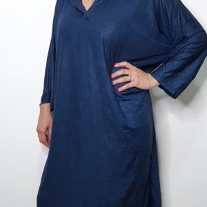 שמלת שינה כחולה מדמוי עור מקומט
