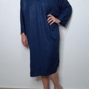 فستان نوم أزرق مصنوع من الجلد المتجعد