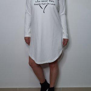 שמלה פרנץ טרי כותנה לבנה הדפס