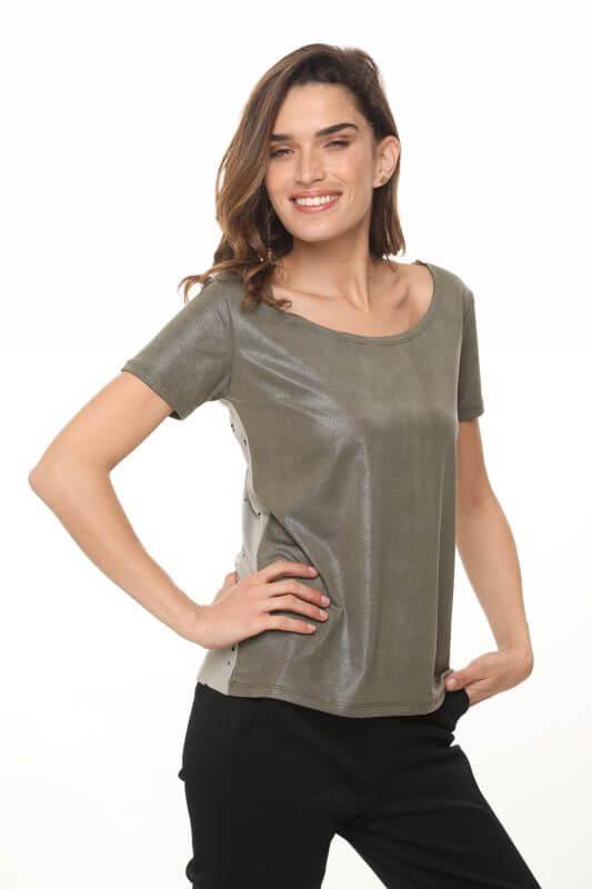 חולצת דמוי עור ירוקה שילוב כותנה מחוררת