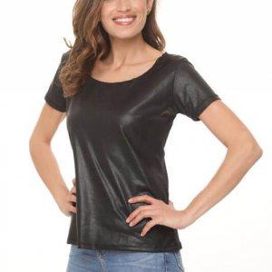 חולצת דמוי עור שחורה שילוב כותנה מחוררת